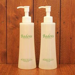 バーデンス エモリエントエッセンス200ml 米発酵エキスで超保湿。乾燥肌用の保湿に特化したドライスキンタイプと、荒れ気味なガサガサ肌の方などアレルギー対策成分も入ったダメージスキンタイプの2種類の美容液。これ単体、化粧水にプラス、洗顔フォームにプラスなど様々な使い方ができる美容液。この長持ちするキメの整い方では未体験。スタッフが特にお薦めする美容液。