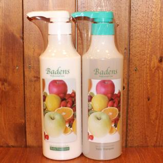 バーデンスアロマシリーズ  シャンプーボトル500ml トリートメントボトル500g アロマシリーズは写真のトロピカルの他10種類の香が選べます。肌荒れでお困りの方はこちらを御覧ください