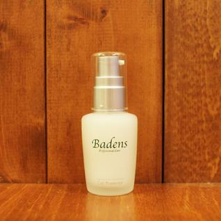 バーデンス セル プロテクター 30ml保護用美容液。予防コスメの核ともいえる「保護バリア」。高配合の天然原料セラミドポリマーが、メイク前の肌の表面にベールを作り、市販のファンデーションに含まれるタルクなど一般メイク用品に含まれる金属塩(刺激物質)や乾燥など、あらゆる外的ストレスから肌をガードしてくれます。